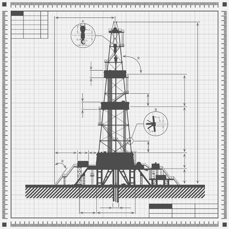 drilling rig: Blueprint of oil drilling rig silhouette. Detail vector illustration. Illustration