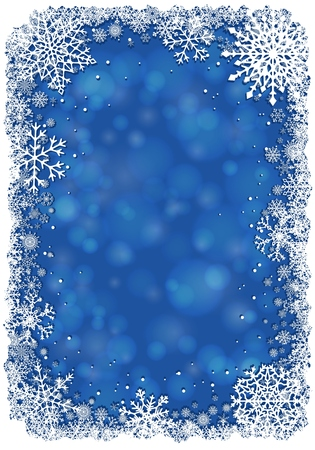 blue christmas background: Christmas frame with snowflakes over blue background. Vector.