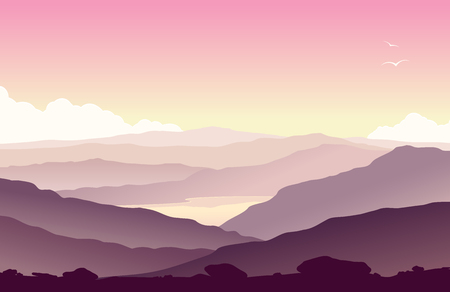 lake sunset: Mountain landscape with grass and huge lake. Wild nature at sunset. Vector illustration. Illustration