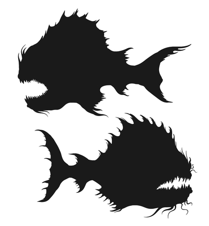 deepsea: Sea monsters set. Deep-sea fishes silhouettes. Black and white freehand drawing illustration isolated on white background. Vector illustration.