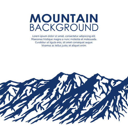 wilderness area: Blue mountain range isolated on white background. Vector illustration of huge mountains with copy-space.