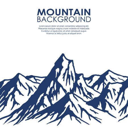 mountain range: Mountain range isolated on white background. Vector illustration with copy-space.