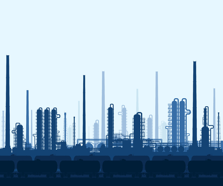 oil and gas industry: Oil and gas refinery or chemical plant with train tanks. Crude oil pricessing and refining. Heavy industry blue background. Vector illustration.