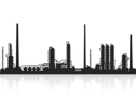 石油精製や化学プラントのシルエット。原油処理プラント。石油プラントの白い背景で隔離の詳細図。ベクトル石油製油所のイラスト。