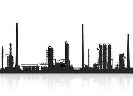 Oil refinery or chemical plant silhouette. Crude oil processing plant. Detail illustration of petroleum plant isolated on white background. Vector oil refinery illustration.