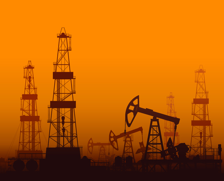 orange sunset: Drilling rigs and oil pumps at orange sunset in desert. Detail vector illustration.