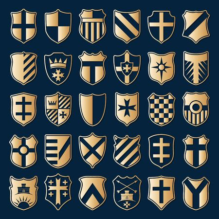 heraldry: Large set of gold heraldic shields with emblems isolated on blue background. Vector illustration.