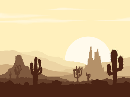 Sunset landscape vector: Landscape with sunset in stone desert with cactuses and mountains. Vector illustration.