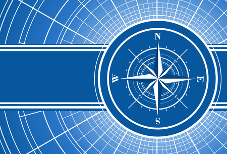 compass rose: Blue abstract travel background with compass rose.