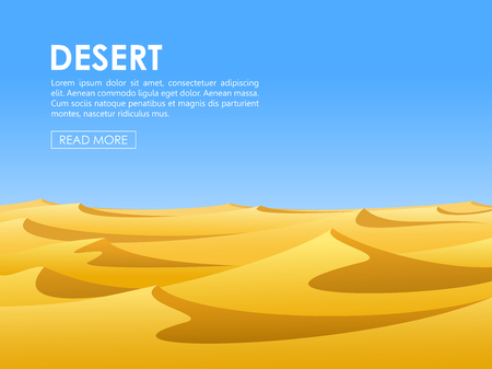 barren: Warm day in barren desert with yellow sand dunes and blue sky. illustration.