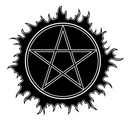 pentacle: Pentagram icon. Star symbol. Isolated Illustration black on white background.