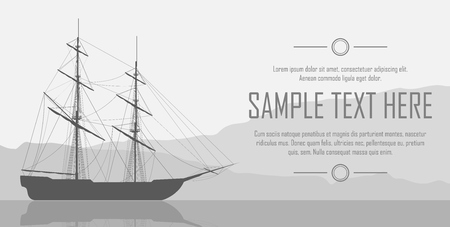 frigate: Sailing ship silhouette over huge mountains. with black and white landscape. illustration.