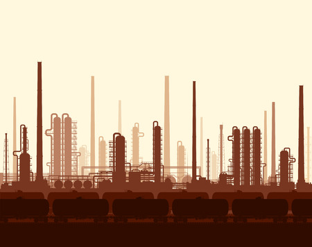 gas refinery: Oil and gas refinery or chemical plant with train tanks at sunset. illustration.