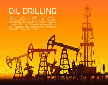 orange sunset: Drilling rigs and oil pumps at orange sunset in desert. Detail illustration. Illustration