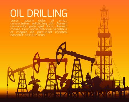 oilfield: Drilling rigs and oil pumps at orange sunset in desert. Detail illustration. Illustration