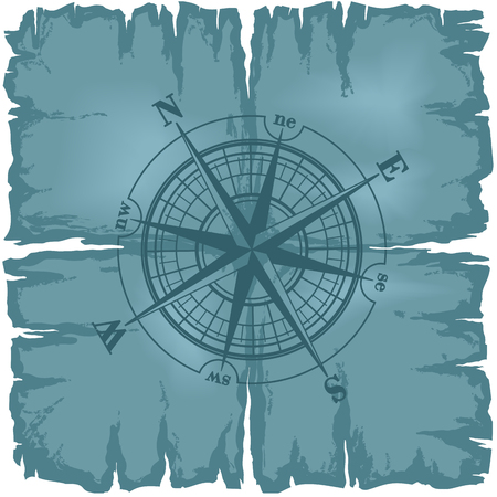old sign: Blue windrose. Old damaged paper map with compass rose. illustration.