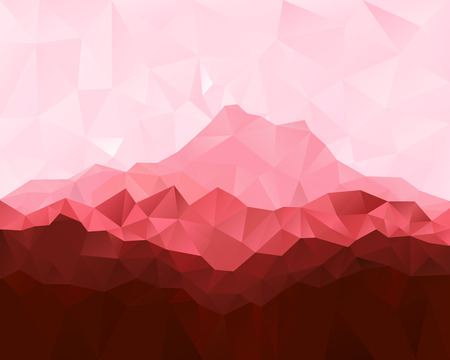 Triangle low poly geometrical background with red mountains illustration.