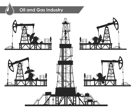 drilling rig: Set of oil pumps and drilling rig silhouettes isolated on white background. Detail illustration.