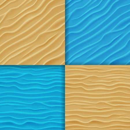 Set of Abstract Water and Sand Waves Backgrounds. Blue Waves and Sand Texture.