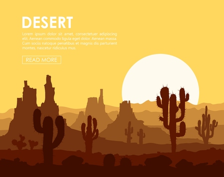 Landscape with sunset in stone desert with cactuses and mountains. illustration.