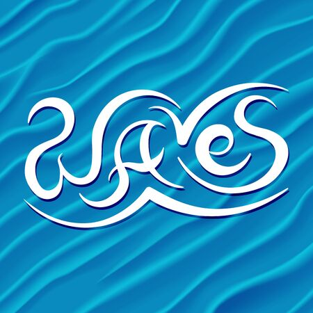 bright paintings: Abstract Design Background of Blue Waves. Illustration