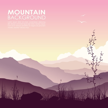 lake sunset: Mountain landscape with grass and huge lake. Wild nature at sunset. Illustration