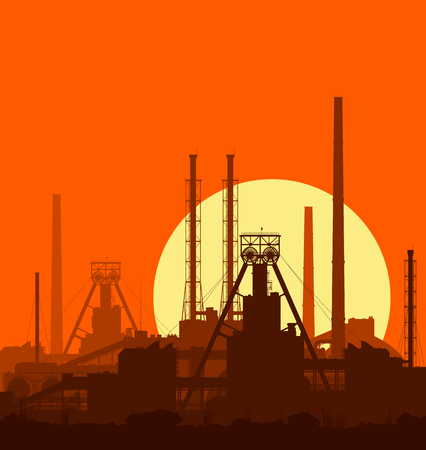 Mineral fertilizers plant at sunset. Detail illustration of large of manufacturing plant over orange evening sky with huge shining sun.