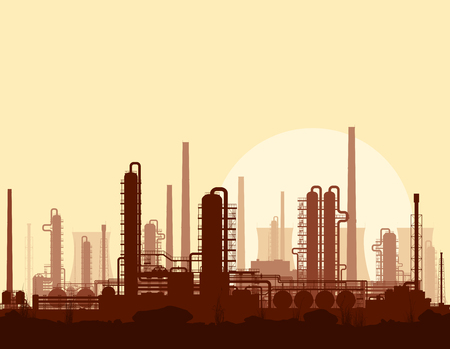 chemical plant: Oil and gas refinery or chemical plant at sunset. Illustration