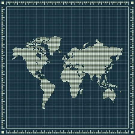 inches: Dotted world map over blueprint background.