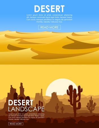 Set of desert backgrounds. Warm day in barren desert with yellow sand dunes, high rocks and blue sky.