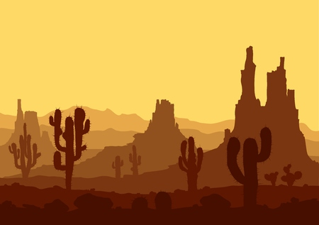 Landscape with sunset in stone desert with cactuses and mountains. Vector illustration.