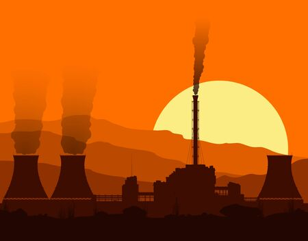 Silhouette of a nuclear power plant with lights at sunset in mountains. Vector illustration.