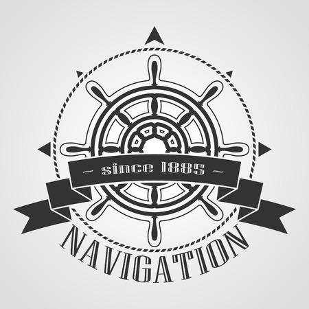 ship steering wheel: Ship steering wheel corporate emblem with banner. Vector illustration.