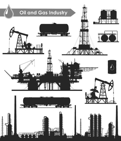 Set of oil and gas industry silhouettes. Oil refinery, offshore sea oil drilling rig, land oil drilling rig, oil pumpjack, barrel and railroad oil tank. Vector illustration.