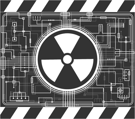 isotope: Nuclear background with the sign of radiation. Black and white vector illustration.