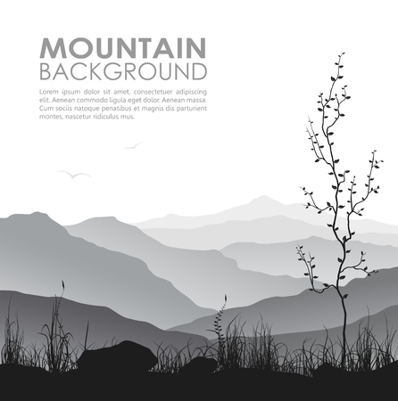 tree grass: Mountain landscape with grass and tree Illustration