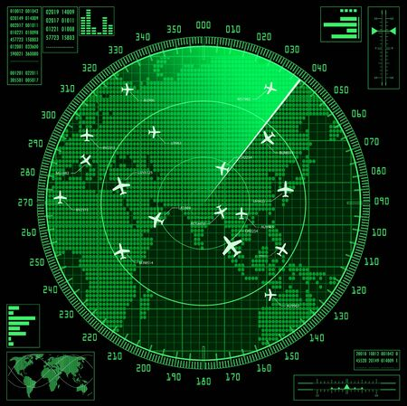 Green radar screen with planes and world map