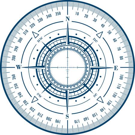 blue roses: Radar compass rose Illustration