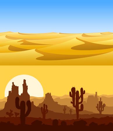 hot day: Desert landscapes vector set.