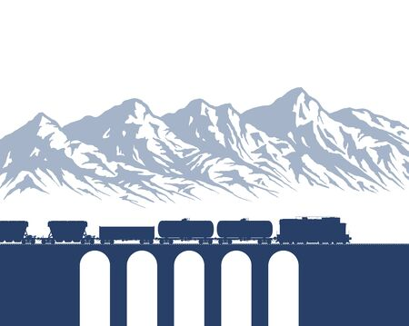 Freight Train over mountains Illustration