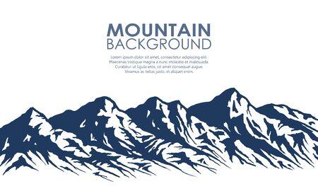 Mountain range silhouette isolated on white. Illustration