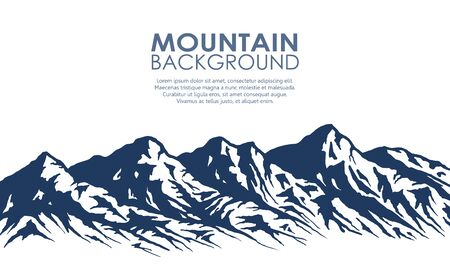Mountain range silhouette isolated on white. Illustration