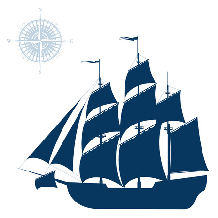 Nave da navigazione isolato su sfondo bianco Vettoriali