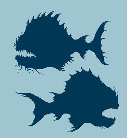 deepsea: Sea monsters set. Illustration