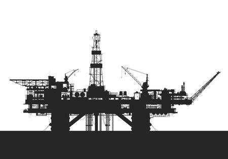 Sea oil rig. Oil drilling platform. Illustration