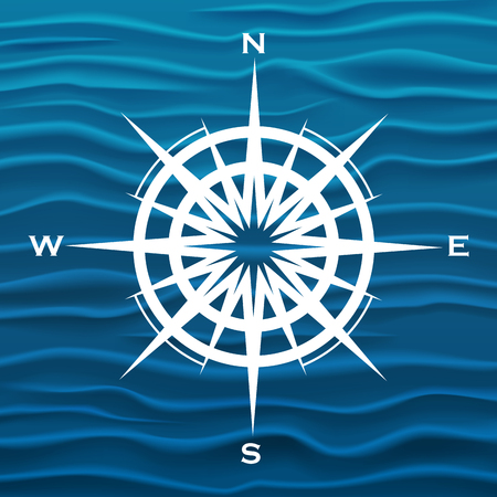 vintage wave: Vector wind rose over blue waves background.