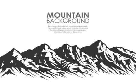 山脈のシルエットが白で隔離。