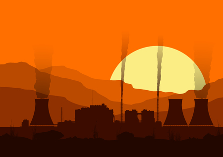 red sunset: Silhouette of a nuclear power plant at sunset. Illustration