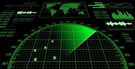 Radar screen with futuristic user interface HUD.