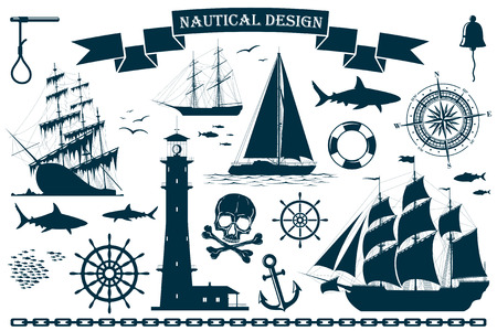 compass rose: Set of sailing ships with nautical design elements
